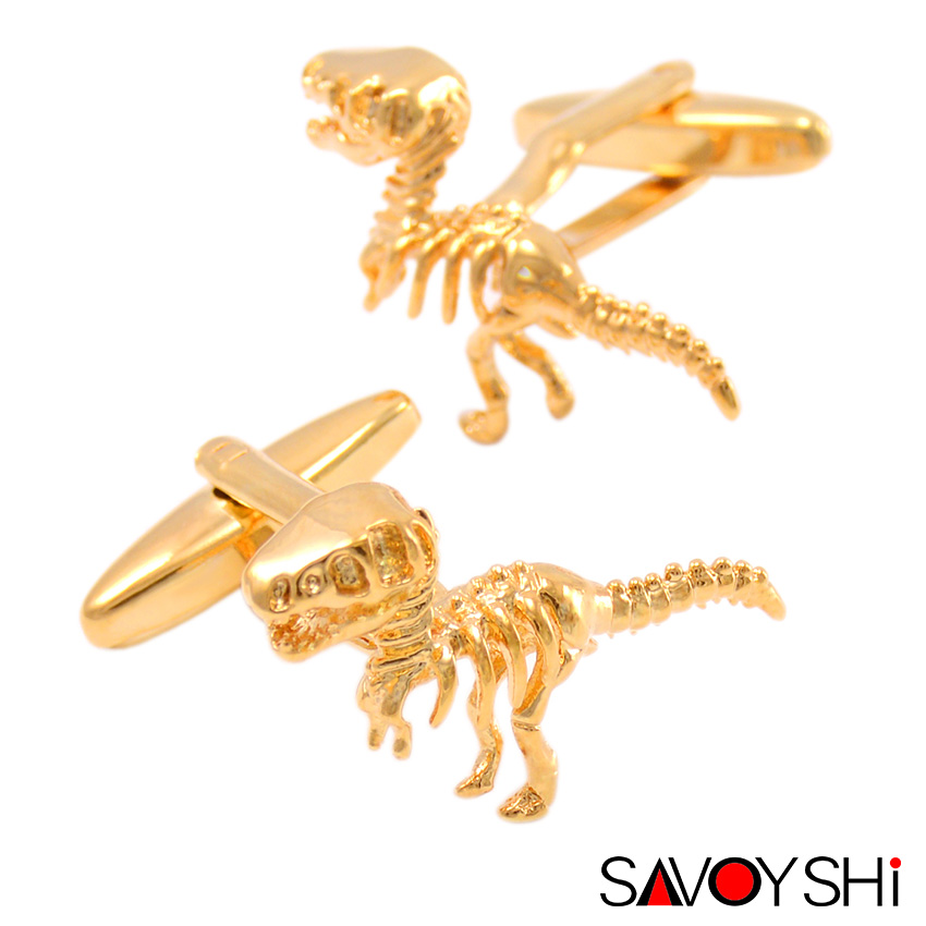 SAVOYSHI 2 szín Dinoszaurusz modellezés Mandzsettagombok magas színvonalú újdonságok Állat mandzsettagombja Divatmárka Férfi ékszerek