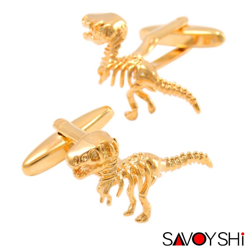 Savoyshi 2 ألوان الديناصور النمذجة أزرار أكمام للرجال جودة عالية الجدة الحيوان صفعة رابط أزياء ماركة الرجال المجوهرات تصميم