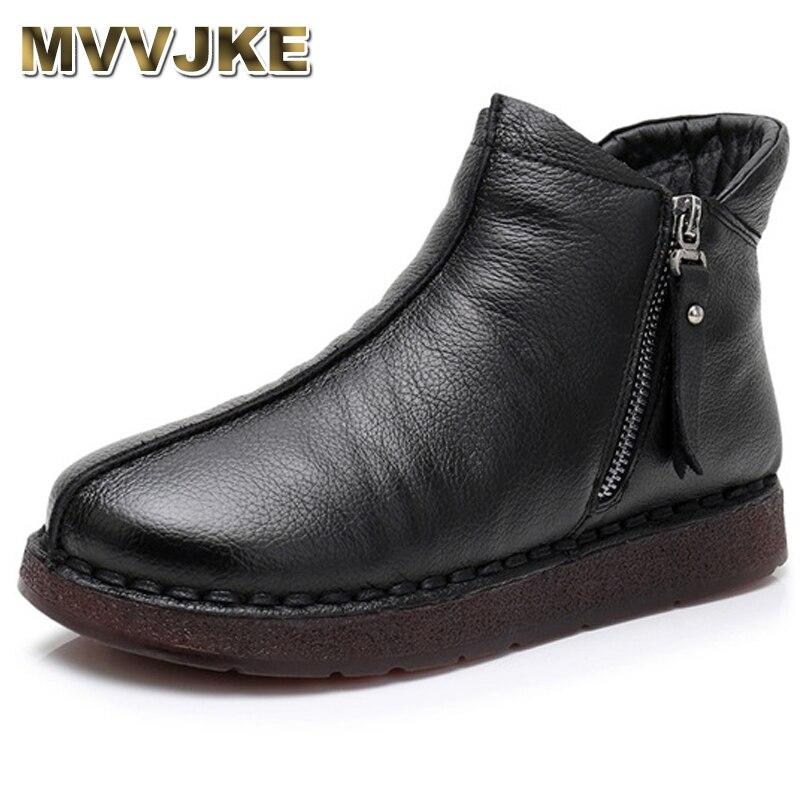 MVVJKE 2018 femmes bottes avec fourrure hiver chaud en cuir véritable à la main Mar bottes chaussures plates en cuir véritable bottes pour femmes E011
