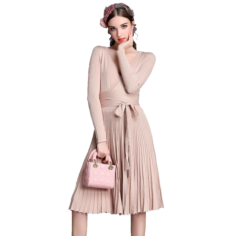 Autumn Winter Women Fashion Christmas Knee-Length Knitted Sweater Dress Casual Long Pleated Dress For Women Vestidos New 2017 korean fashion autumn knitted dress suit women knee length casual sleeveless tank dress cardigan lady two piece dress sets