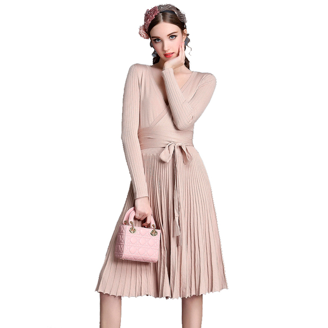 11956e2dee Autumn Winter Women Fashion Christmas Knee-Length Knitted Sweater Dress  Casual Long Pleated Dress For Women Vestidos New 2017
