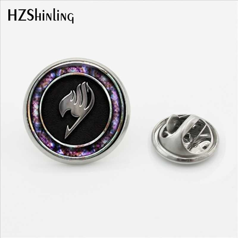 2018 New Arrival  Fairy Tail Lapel Pin I Love Fairy Tail Butterfly Clasp Pin  Anime Logo Glass cabochon Jewelry