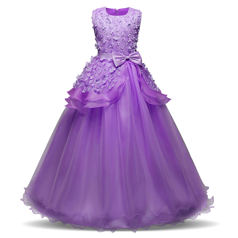 Long Elegant Kids Princess Dresses For Girls Wedding Prom Gown Junior Child Birthday Party Dress Girl Clothes Girl's Clothing girls ball gown lace flowers girl white dress for prom princess dresses for wedding birthday party kids clothes floral evening