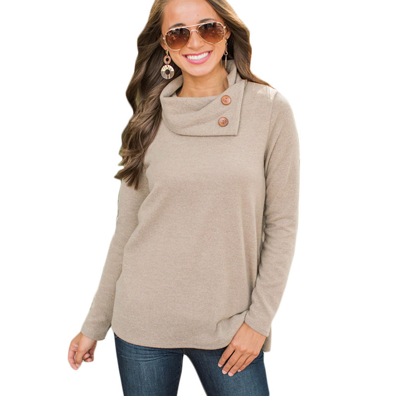 Women Cowl Neck Hoodie Sweater Long Sleeve Casual Sweatshirt Pullover Jumper Top