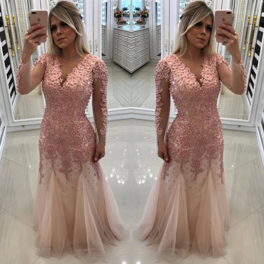 Gorgeous Pearls Long   Prom     Dresses   2019 Elegant Long Sleeves Tulle   Prom   Gown Custom Make Formal Party   Dress   Vestidos De Gala