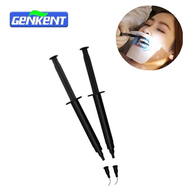 Genkent 2 unids 3 ml profesional Blanqueadores de dientes barrera gingival dental gum Dam Blanqueadores de dientes gel protector de goma con consejos