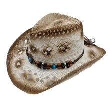 2017 verano Unisex hueco Punk sombrero vaquero de paja con perlas cuerda  hombres amplia Curling ala de mujeres occidental vaquer. db3555292ad