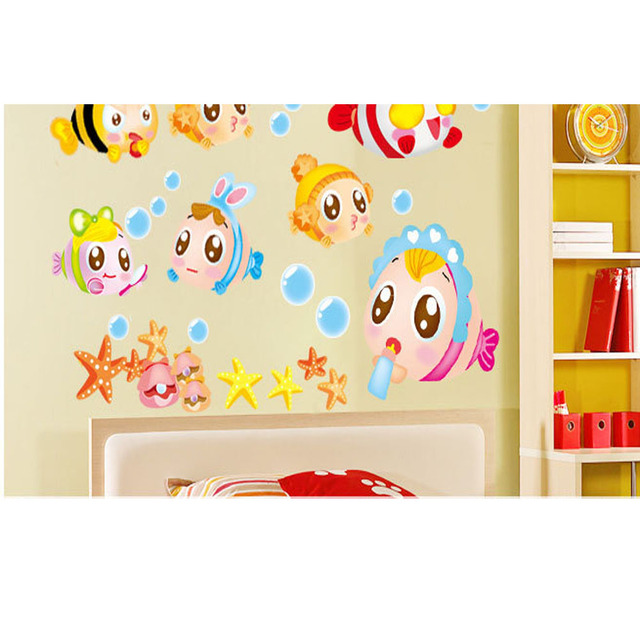 lovely fish wall stickers bathroom decorate children room cartoon ...