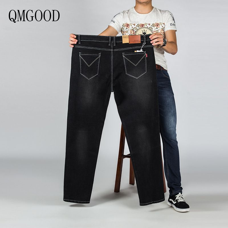 QMGOOD Large Size Slim Straight Men's Jeans Hot Sales of New Men's Casual Denim Trousers Size 28-48 Brand Clothing Male Pants  2017 new brand men jeans style mens washed denim pants ripped jeans large size male casual straight slim wholesale jeans 2081