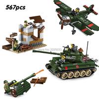 compatible legoeinglys Military World War 2 bomber tank Attacking artillery Bastion Army soldier Weapons Building block kid toy
