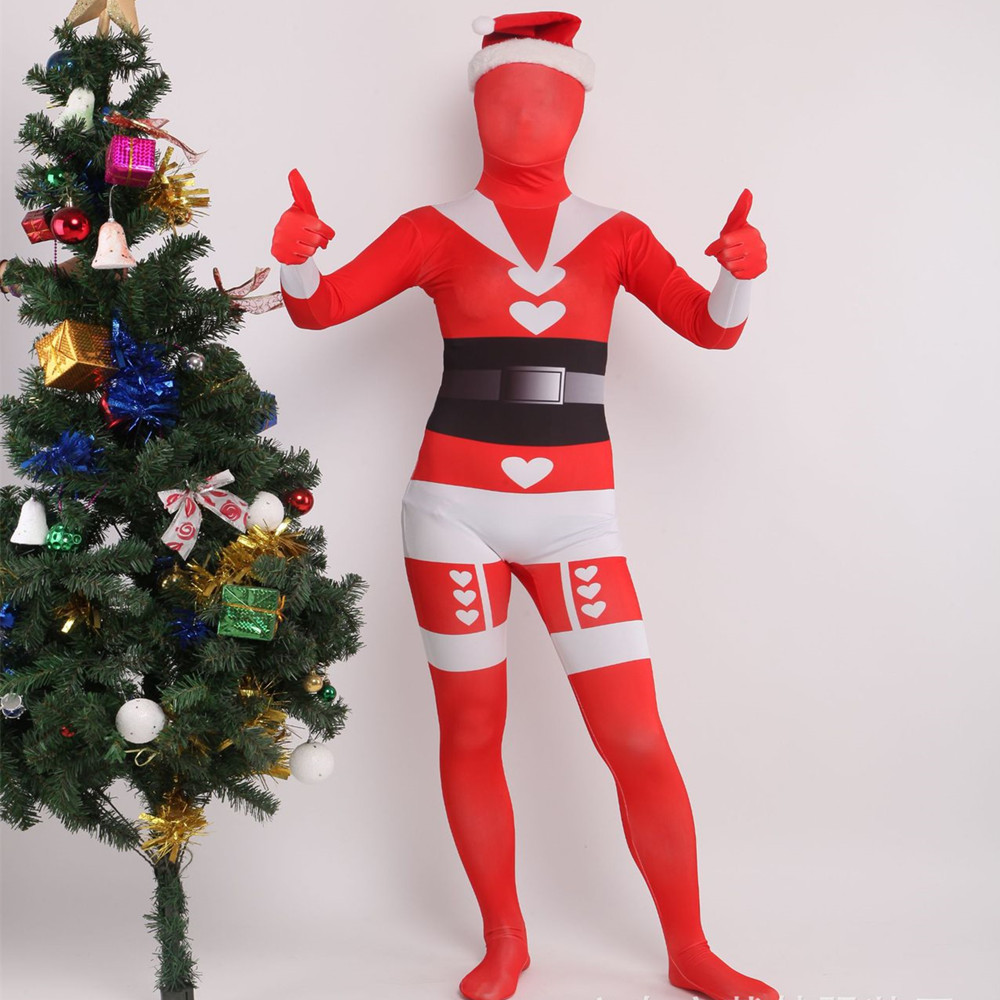 Christmas Santa Costumes Red female Santa Tights Cosplay Leica Spandex Printed Onesies Printed zentai Tights Halloween party