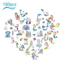 METABLE 180pcs Mermaid Fake Tattoo Princess Removable Stickers for Children Girl Under the Sea Themed Birthday Party