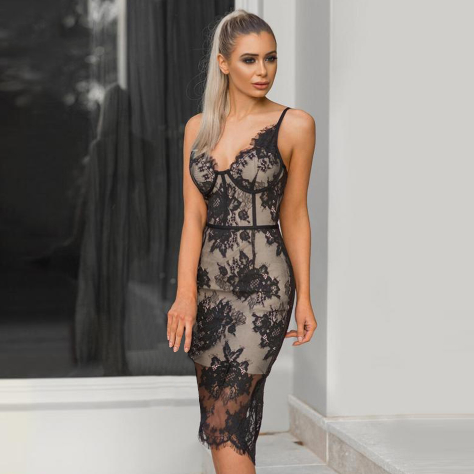 Bandage Dress Women Vestidos Sexy Black Lace V Neck Spaghetti Strap Club Dress Celebrity Evening Party Dresses