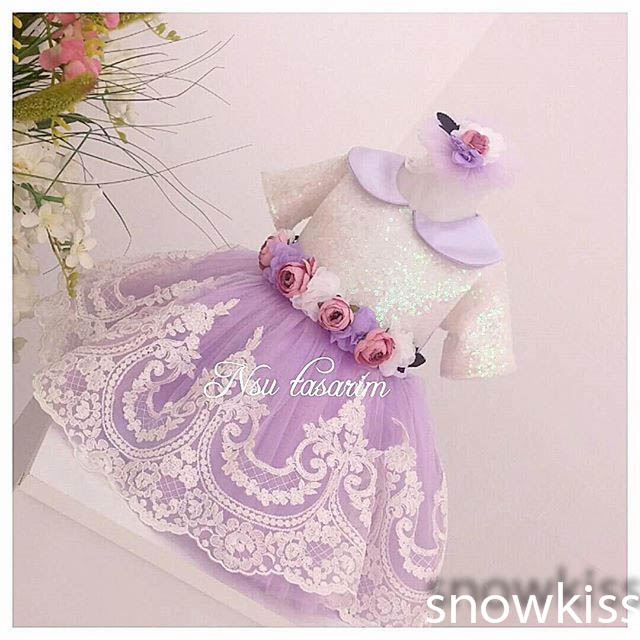 2016 Short Sleeve violet White Lace flower girl dresses with Bow baby Birthday Party Dress toddler girl pageant dress ball gowns