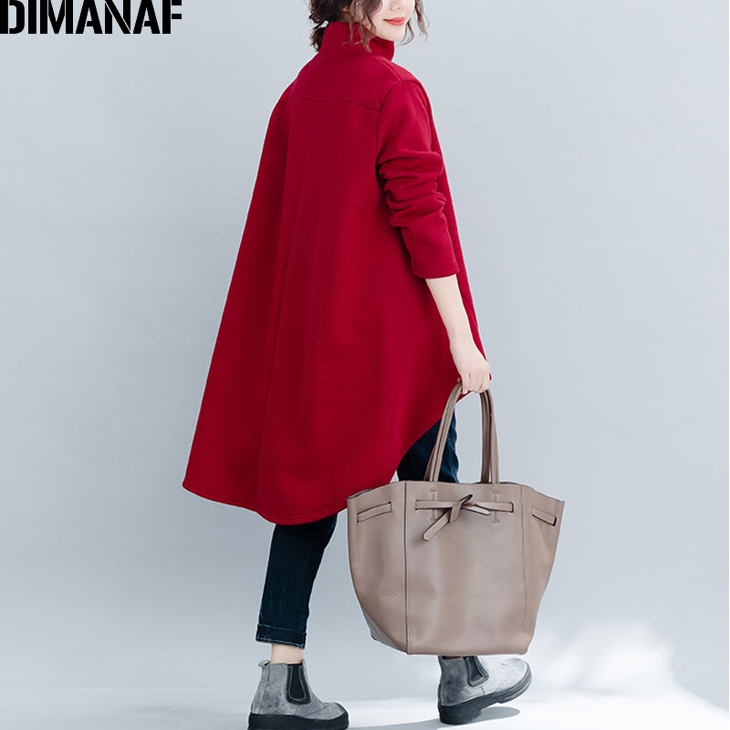 DIMANAF Plus Size Women Pullover Winter Warm Hoodies Sweatshirts Cotton Knitted Thicken Top Female Turtleneck Loose Clothes 2018 4