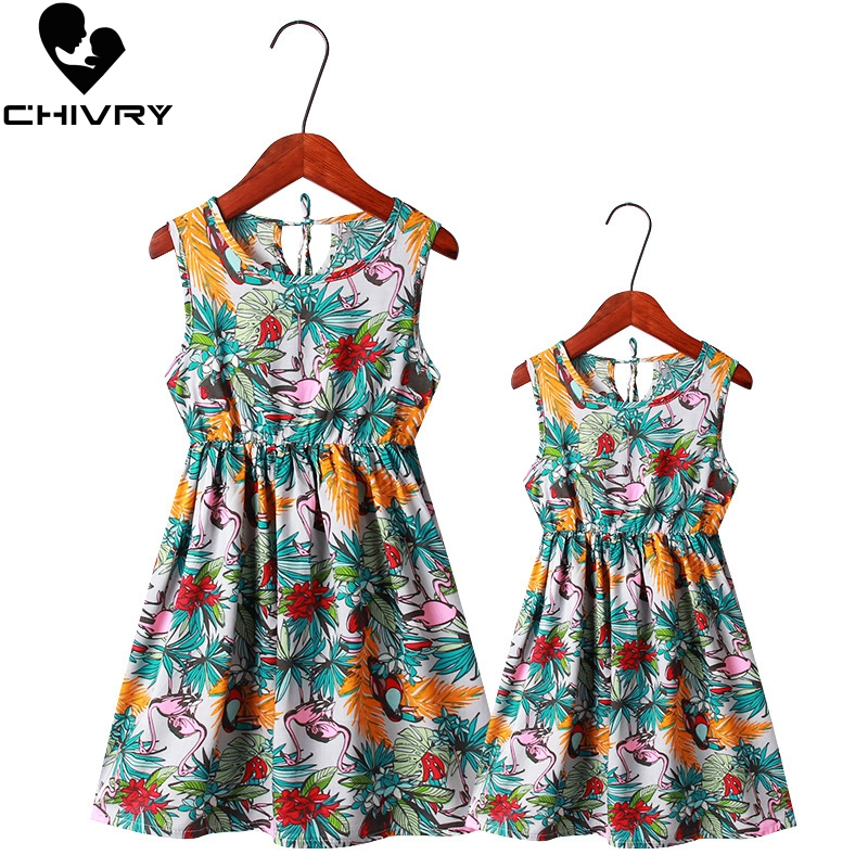 2019 New Mother Daughter Summer Dresses Sleeveless Floral Beach Dress Mom And Daughter Dress Family Matching Outfits Clothes