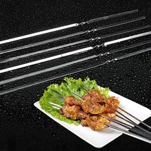 лучшая цена 30/50Pcs Stainless Steel Skewers Roast Skewers Stick Steels BBQ Needles Outdoor Camping Picnic Barbeque Cooking Meat Fish Sticks