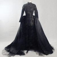 RSW1390 Yiaibridal Real Job Long Sleeves Detachable Train Transparent Lace Jumpsuit Long Sleeve Black Sexy Wedding Dress