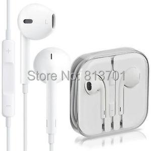 Blanco genuino original volumen estéreo de 3.5mm en la oreja los auriculares auricular mic para el iphone 6 s 6 más 5 se 4 4S 5S 5c ipad ipod nano toque