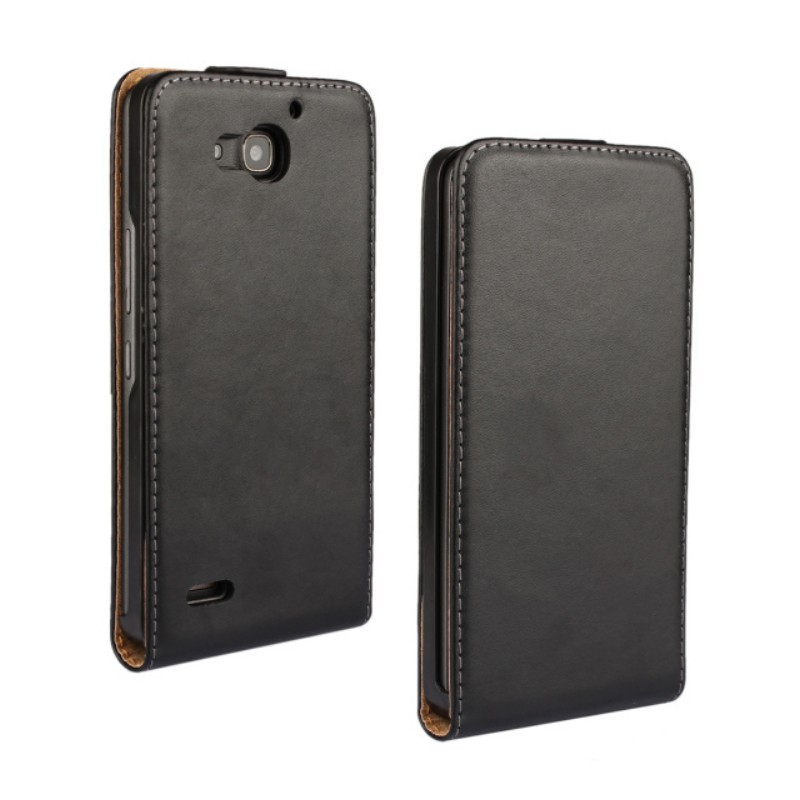 1PCS Drop Shipping High Quality Genuine Leather Vertical Flip Cover Case for Huawei Honor 3X with Magnetic Snap