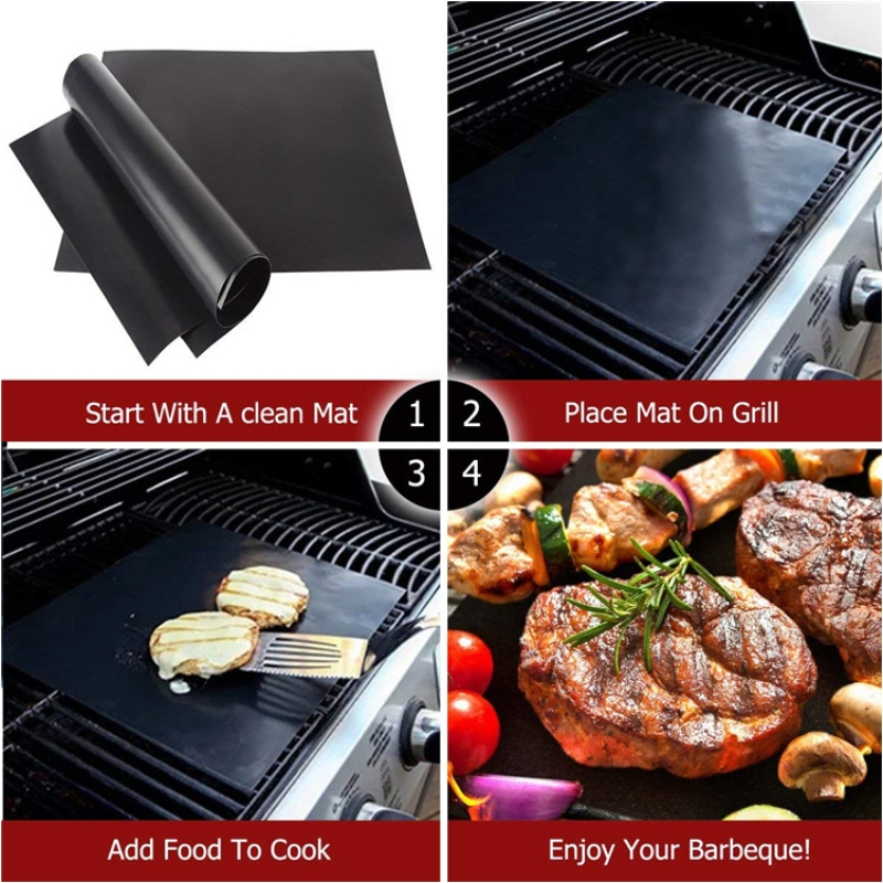 PTFE Non-stick BBQ Accessories Grill Mat Barbecue Outdoor Baking Pad Reusable Teflon Cooking Plate For Party Grill Mat Tools New