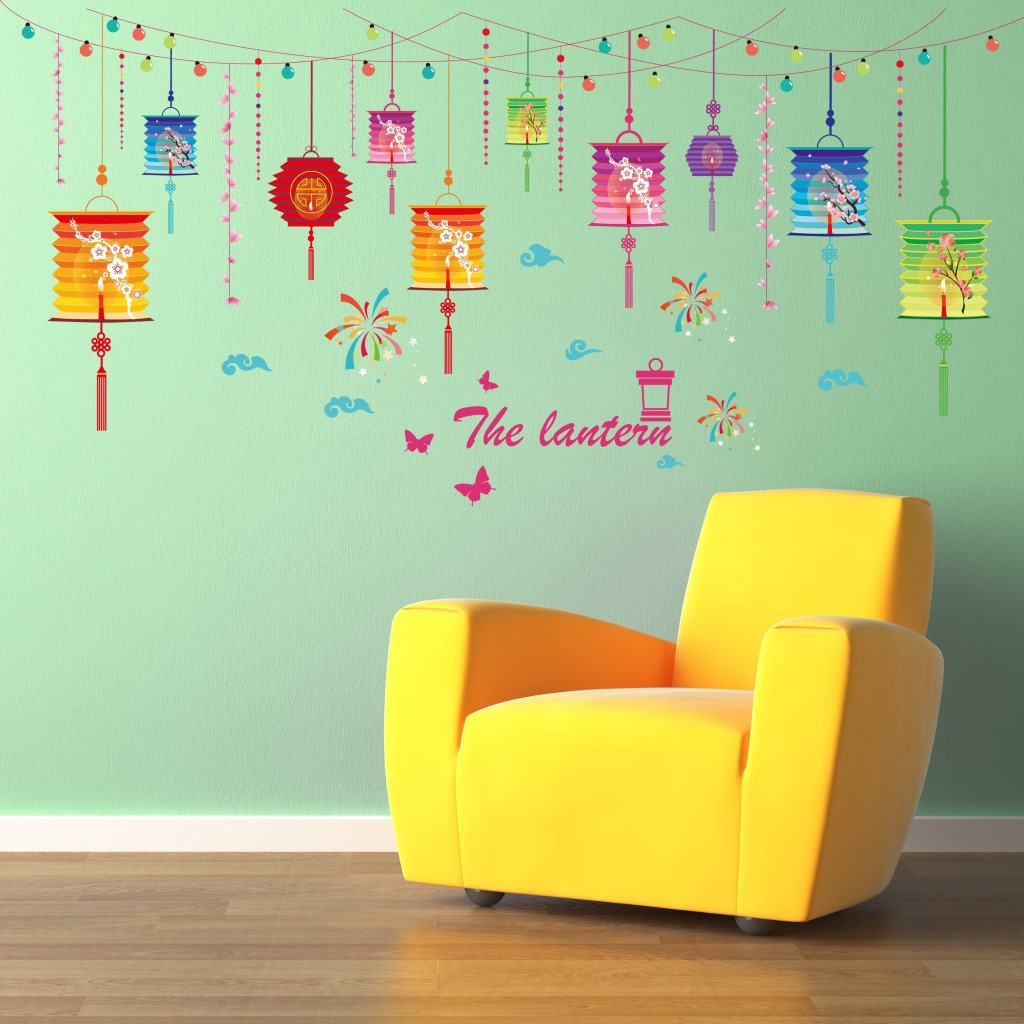 Colorful lanterns wall stick kindergarten room adornment bedroom act the role ofing drops hang stickers stickers fireworks in wall stickers from home