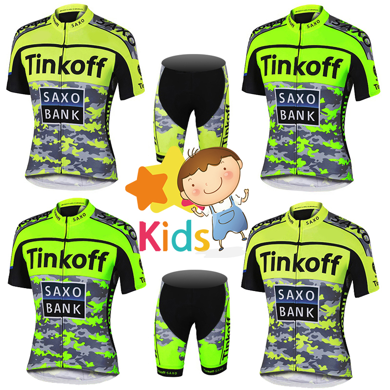 2018 Pro Fluo Colors Cycling Jersey Sets for Kids Team Children Cycling Kits Sports Outdoor MTB Bicycle Children's Clothing Sets