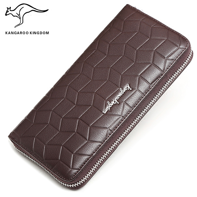 KANGAROO KINGDOM fashion genuine leather men wallet long business male clutch purse phone credit card holder men s purse long genuine leather clutch wallet travel passport holder id card bag fashion male phone business handbag