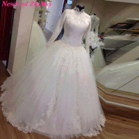 Arabic Long Sleeves Bridal Gowns Vintage High Neck Muslim Wedding Dress Elegant Sequined Applique Tulle Ball