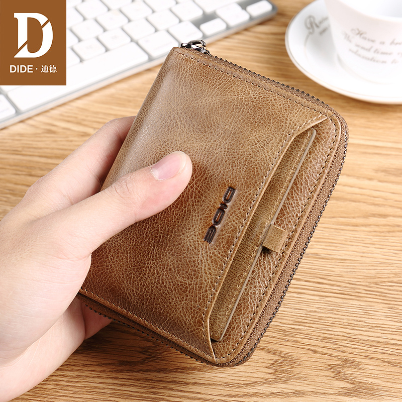 DIDE Genuine Leather Cow Wallet Men Male Coin Purse Card Holder Youth zipper wallet men 39 s first layer leather multi function 710 in Wallets from Luggage amp Bags