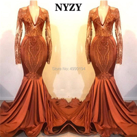 NYZY P65 Mermaid Long Dress Prom 2019 Sexy See though Long Sleeve Graduation Dresses Evening Gown