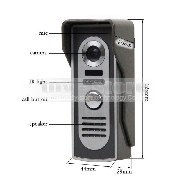 DIYSEUCR 7inch Video Intercom Video Door Phone 600TV Line IR Night Vision Outdoor Camera for Home / Office Security System