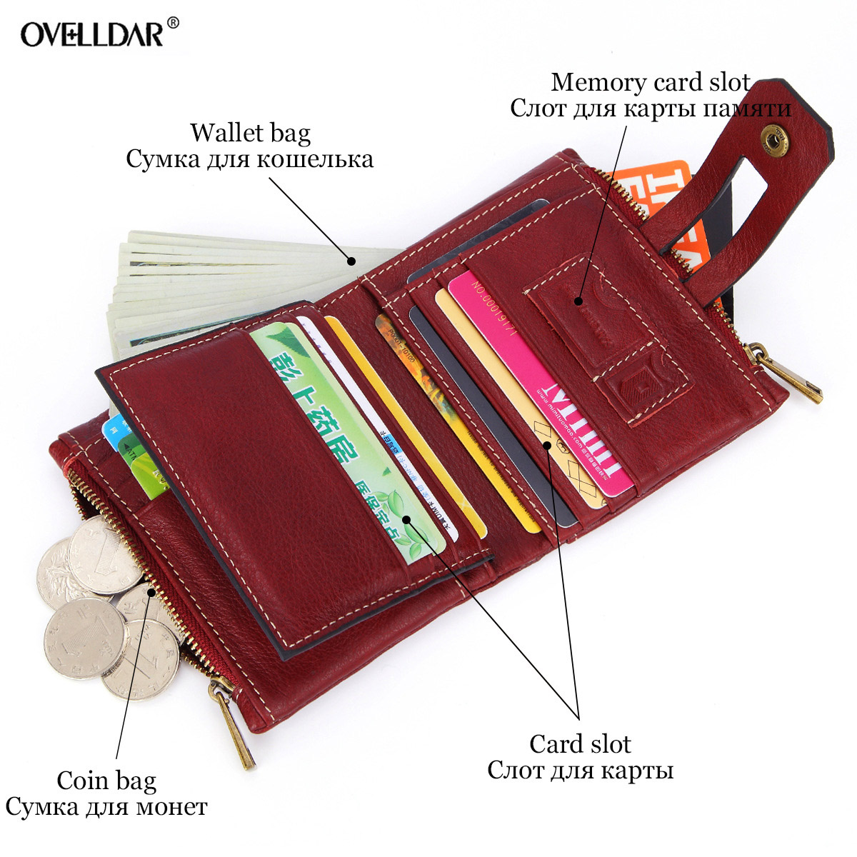 Short Wallets Genuine Leather Women Wallet New Fashion Coin Purse Zipper Hasp Design Brand With Card Holder Pocket new arrival in Wallets from Luggage Bags