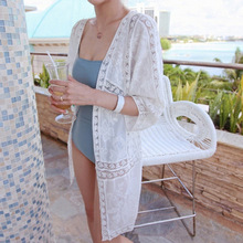 New Autumnach Women Shirts Lace Hollow Out Flowers Long Vacation Bikini Is Prevented Bask In Clothes Blouse Shirt 8142