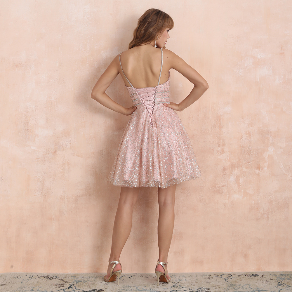 Image 2 - VKbridal Glitter Deep V neck Mini Length Crystal Graduation Dress  Sparkling Prom Gowns Junior for Girl Short Homecoming  DressesHomecoming Dresses