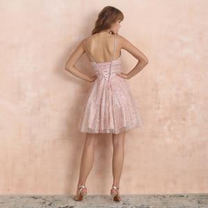 Image 2 - VKbridal/блестящее мини платье с глубоким v образным вырезом и кристаллами для выпускного вечера, сверкающие платья для выпускного вечера, короткие платья для девочек