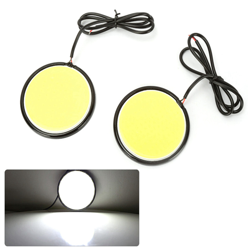 2PCS 12V DC 93mm Car Round DRL Daytime Running Light White LED Driving Lights Working Lamp COB Lights car-styling