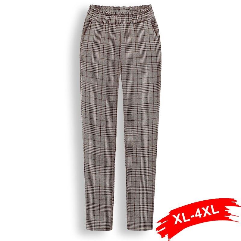 Plus Size Plaid Elastic Waist Casual Ankle Length   Pant   4Xl Women Lace Up Trousers Female Harem   Pants   Streetwear Loose   Capris