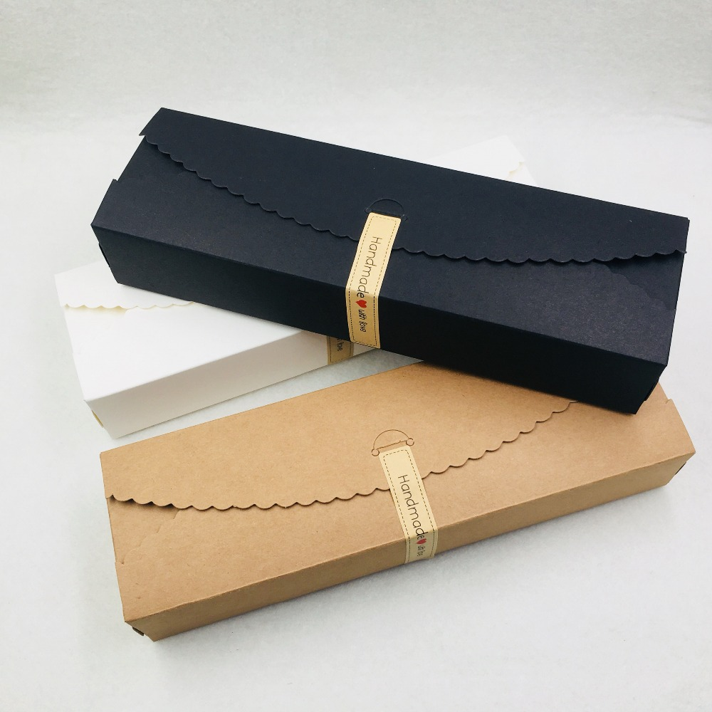 50pcs Kraft Paper Gift Boxes DIY Chocolate/Candy/Flower Packaging Boxes 23*7*4cm Wedding Favors Rectangle Gifts Paper Box