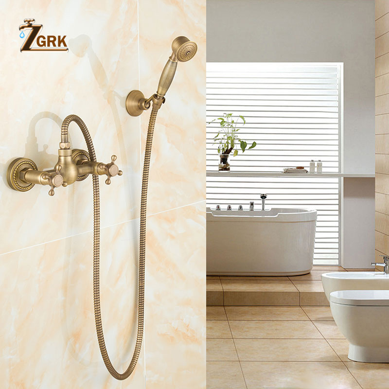 ZGRK Bathtub Faucets Luxury Brass Bathroom Faucet Mixer Tap Wall Mounted Hand Held Shower Head Kit Shower Faucet Sets luxury gold brass bathroom faucet bath faucet mixer tap wall mounted hand held shower head kit shower faucet sets sf1033