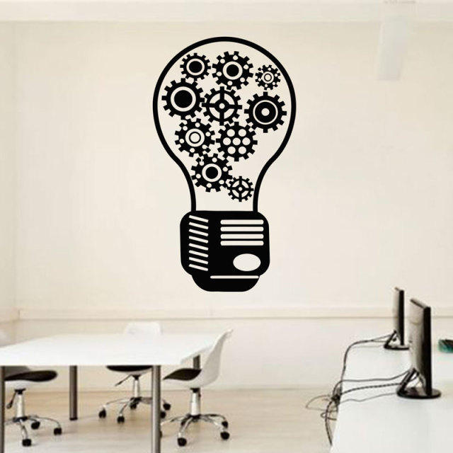Light Bulb Office Wall Decal  Team Work Gears Office Vinyl Wall Decor Idea  Creative Creativity Inspiration Wall Sticker LZ26