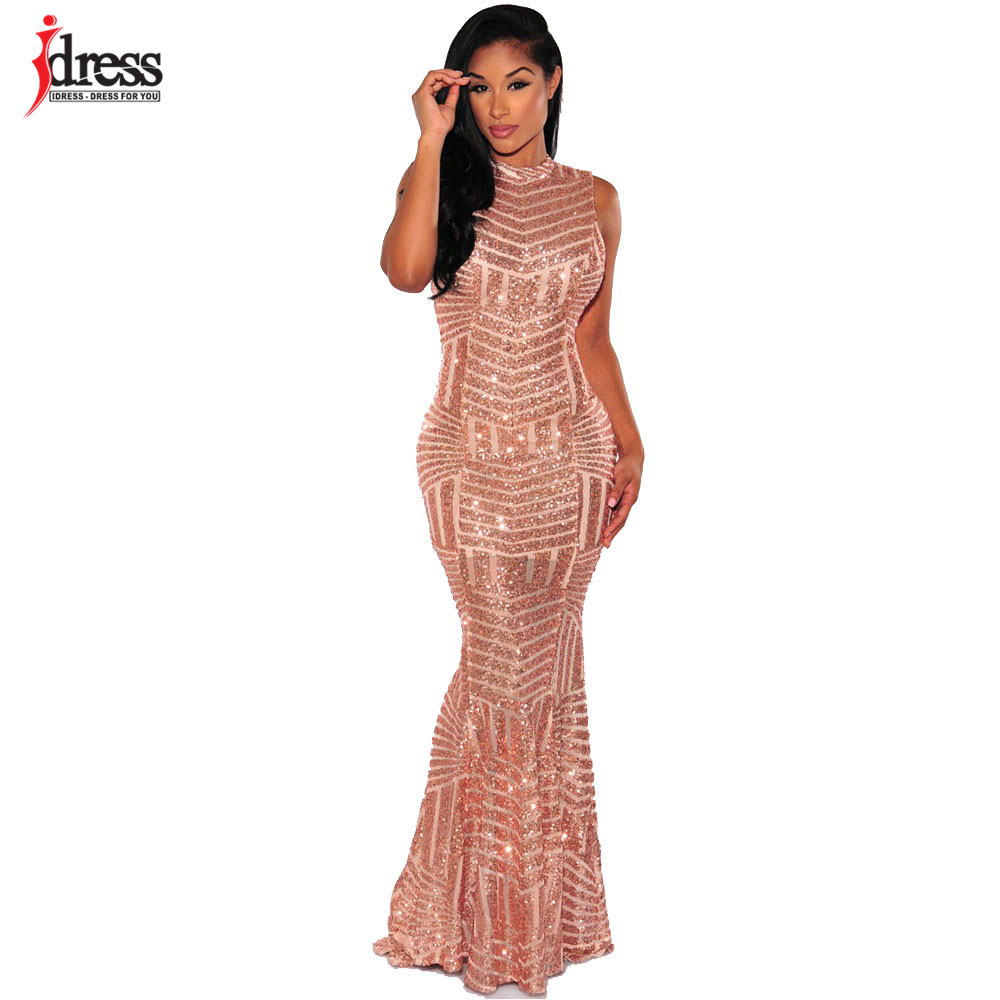 IDress 2017 Sexy Party Club Dresses Sleeveless Evening Long Dress Backless  Gold Sequin Maxi Dress Robe e1810d736a6a