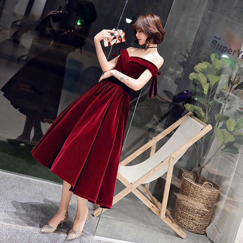 זה YiiYa קוקטייל שמלות אלגנטי סירת צוואר קשת סטרפלס מסיבת לבוש הרשמי יין אדום תחרה עד אונליין אופנה לנשף שמלות E363