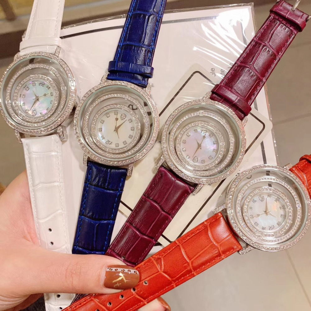 Genuine Leather 40mm round cubic zircon stone Quartz Wristwatch fashion designer turning Dial watch clock for