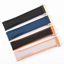 Correa de reloj de silicona de goma de nailon de 20m y 22mm para reloj Omega, pulsera de reloj Seamaster Planet Ocean 8900, color naranja, negro y azul