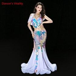 Bauchtanz Kleidung Meerjungfrau Sexy Lange Kleid Pailletten Frauen Orientalischen Bauchtanz Kostüme für Verkauf Tanzen Outfits Bh + rock Anzug