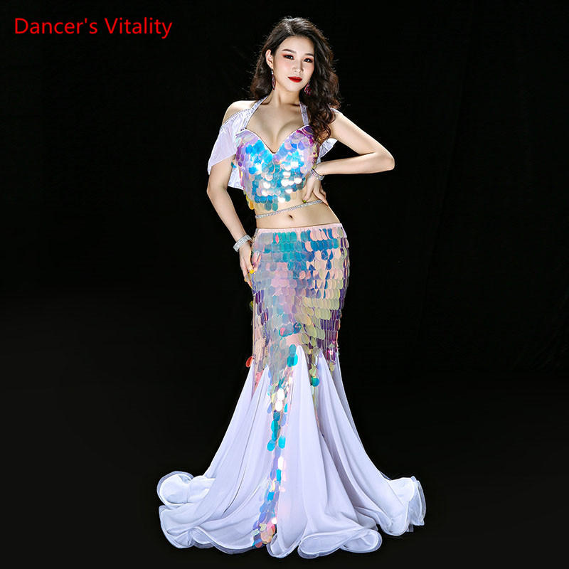 Bellydance Clothes Mermaid Sexy Long Dress Sequin Womens Oriental Belly Dance Costumes for Sale Dancing Outfits Bra+skirt Suit
