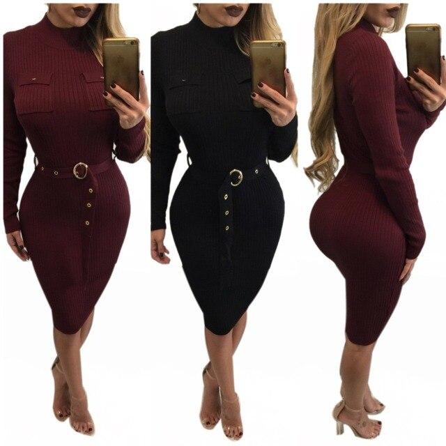 New 2016 Autumn Womens Black Dresses Belted Elegant Vintage Business Buttons Big Size Casual Cocktail Pencil Sheath Dress