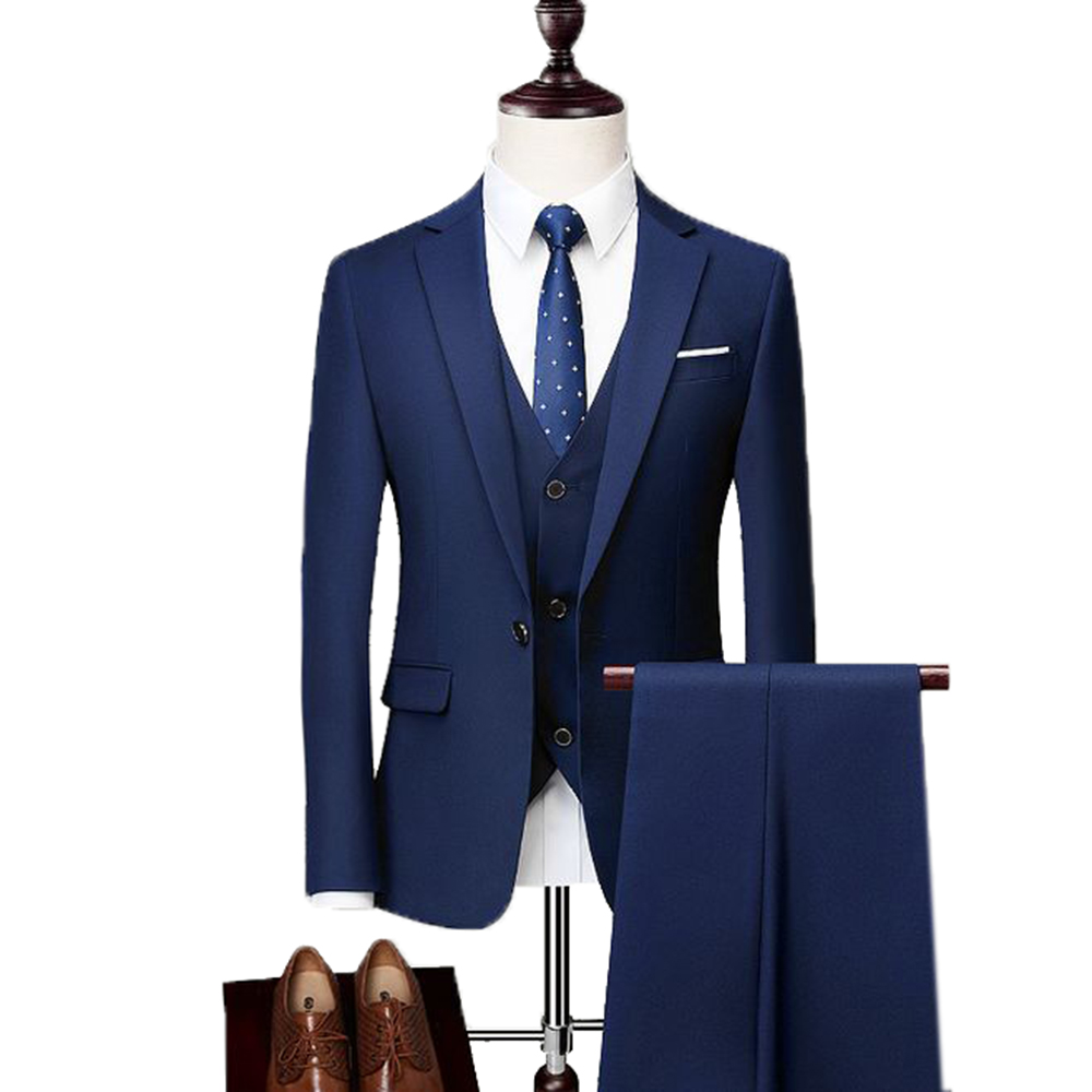 Men's Suit Formal Business 3 Pieces Slim Fit Notch Lapel Tuxedos Groomsmen One Button(Blazer+Vest+Pants)