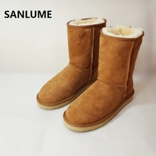 SANLUME Women Winter Sheepskin Leather Snow boots 100% Real Sheep Fur Boots Classic chestnut keep warm Boots Size 42(China)